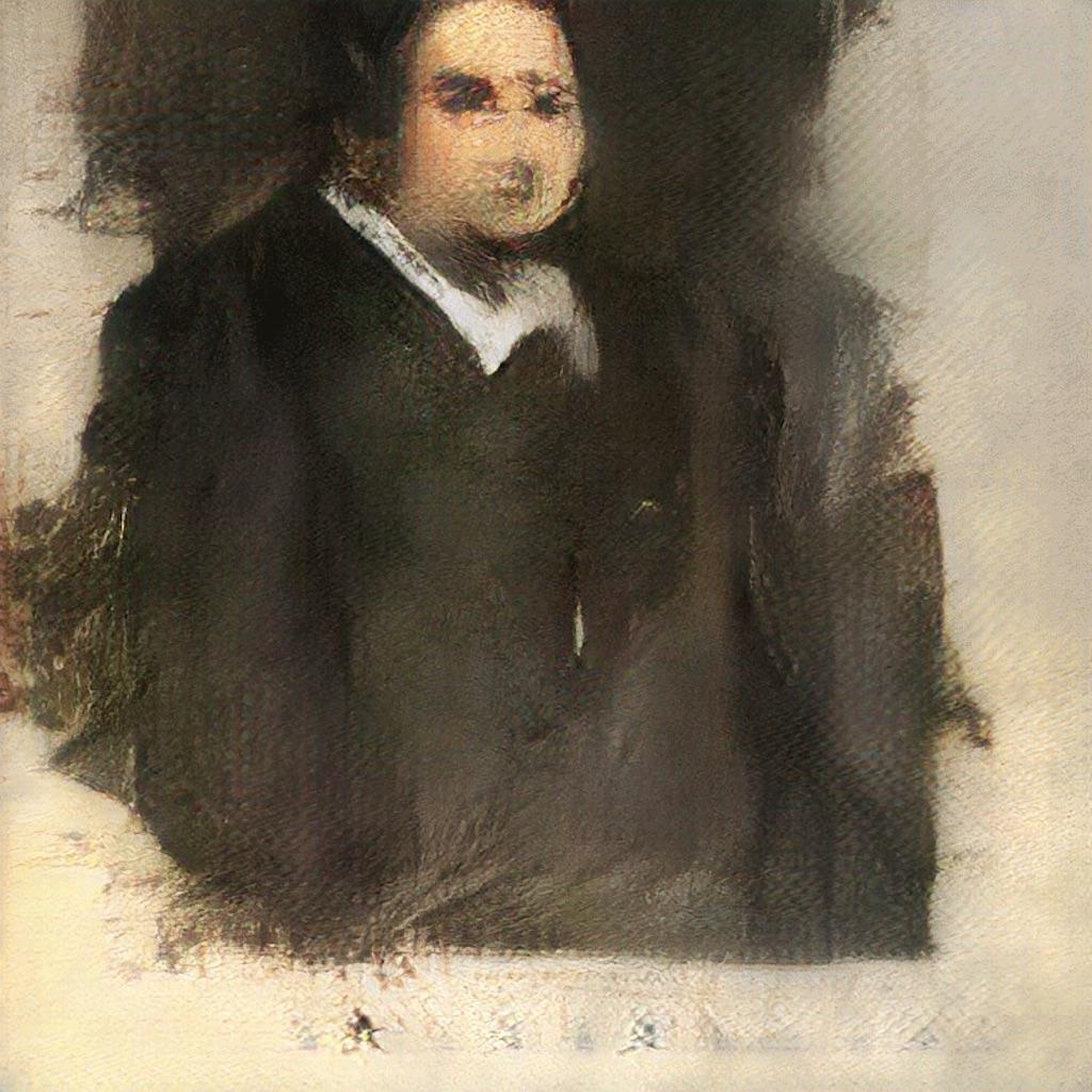 Portrait d'Edmond de Bellamy - Première oeuvre picturale réalisée par une IA.